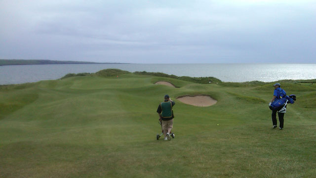 PHOTO:The seaside green of the third hole at Lahinch Golf Club, Ireland.