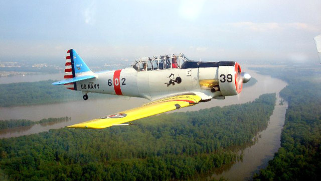 PHOTO: Acadia Air Tours offers flights in vintage fighter planes over Bar Harbor, Maine.
