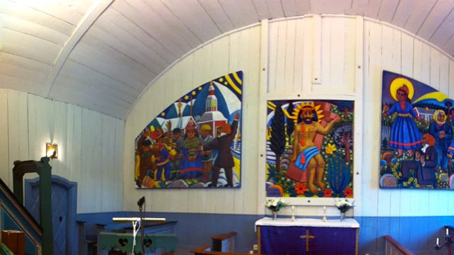PHOTO: The more traditional, but equally beautiful, church in Jukkasjärvi, population 900.