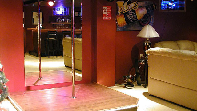 PHOTO: Dave Stanoszek's Man Cave. The stripper pole was his wife's idea.