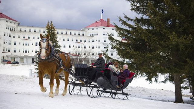PHOTO: The grand historic Omni Mount Washington is located in famous Bretton Woods, which guests can survey on a traditional sleigh ride.