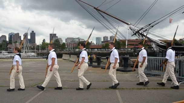 PHOTO: USS Constitution sailors perform drills during Boston Harborfest 2013.
