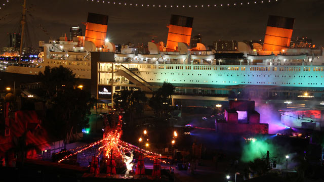 PHOTO: Ghost Ship, Queen Mary, Long Beach, California. There are some people who believe the historic Queen Mary to be haunted year-round, and who advise staying far away from this grand but spooky old ship on Halloween. Those people are in the minority,