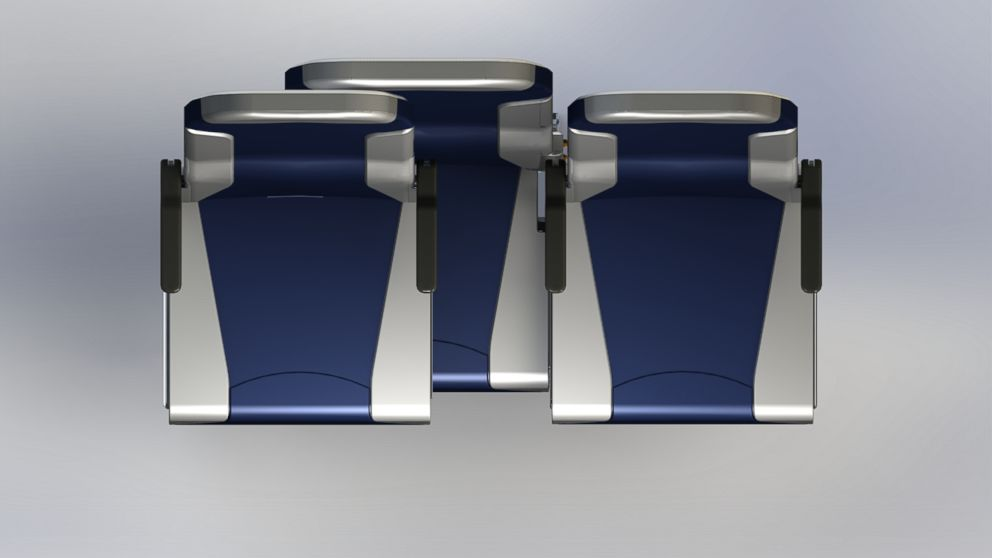 A new airline seating design could mean faster boarding and deplaning.