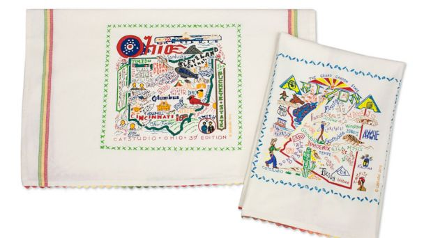PHOTO: These state dish towels from Uncommon Goods make the perfect inexpensive gift for the traveling new homeowner.
