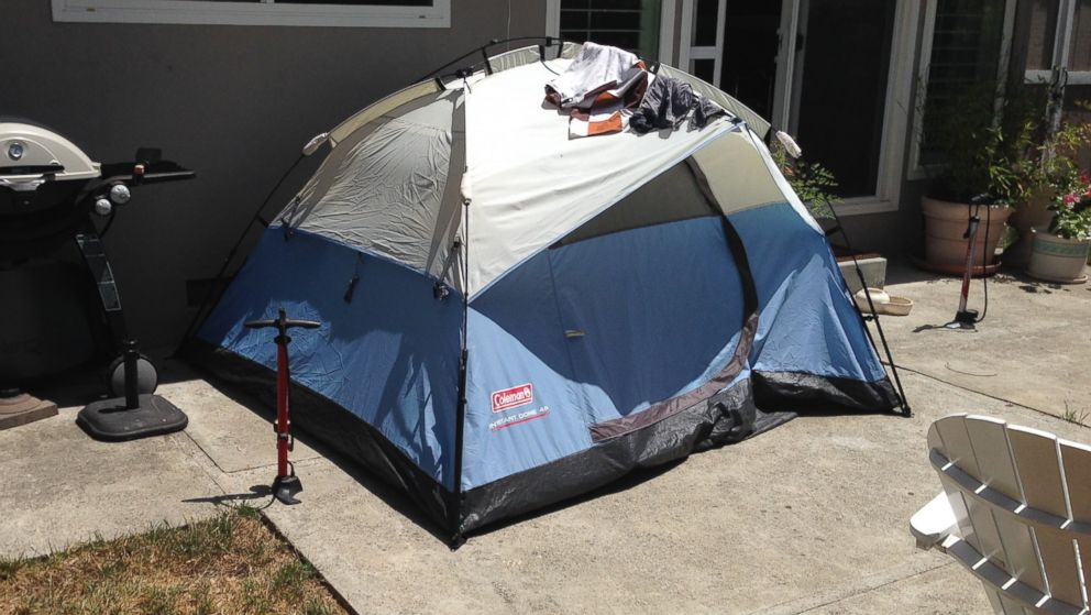 John Potter listed a tent in the backyard of his parents' Mountain View, California, home on Airbnb for $46 a night.