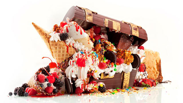 PHOTO: The Treasure Chest, which is every dessert on the menu, overflows from an edible chocolate container.