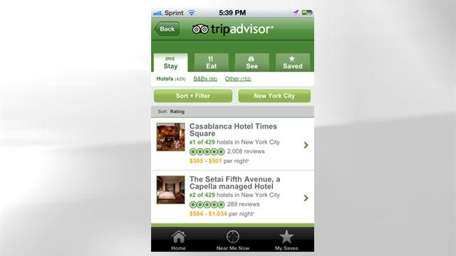 PHOTO: Tripadvisor's mobile app