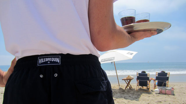 PHOTO: Saint Tropez meets Santa Monica on the beach at the Fairmont Miramar Hotel & Bungalows, where the beach butlers are outfitted in Vilebrequin swim trunks for the first time this summer.