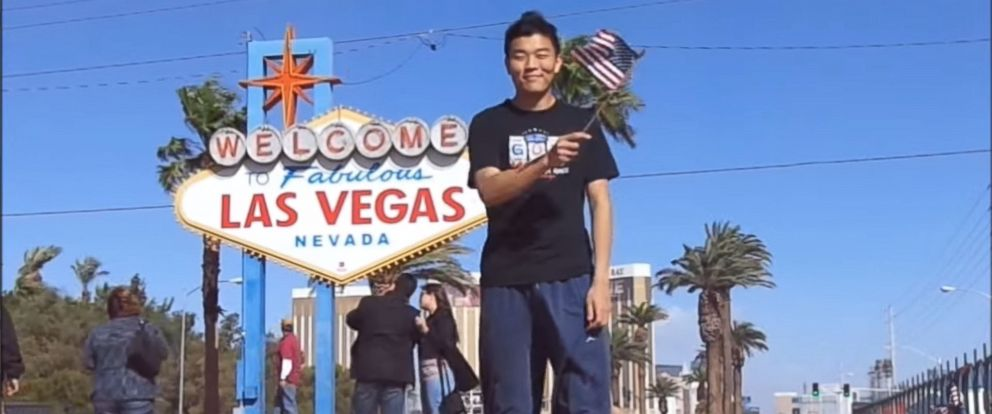 PHOTO: Howard Li is seen waving an American flag in Las Vegas, Nevada, in this image made from his YouTube video showing him wave the flag in all 50 states.