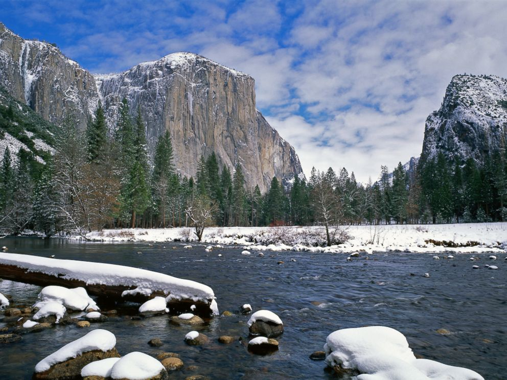 PHOTO: El Capitan is backdropped against the Merced River at Yosemite National Park, Calif.