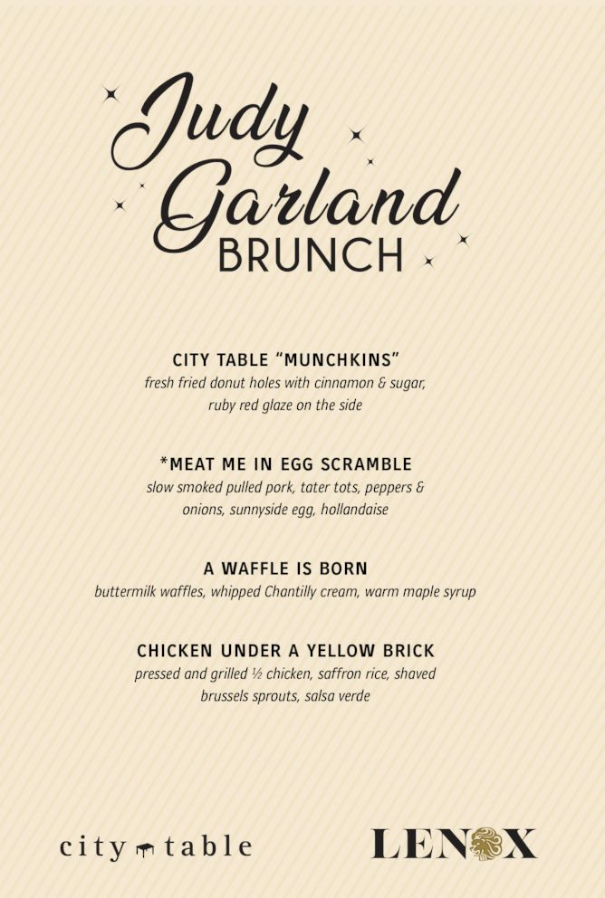The Lenox Hotel will celebrate Judy Garland's birthday on June 10 with a special brunch menu.