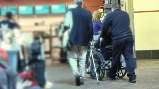 VIDEO: Able-bodied travelers game the system to quickly get through security lines.