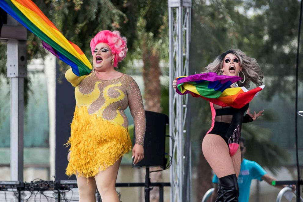 PHOTO: Eureka Ohara and Morgan McMichaels perform onstage at the LA Pride ResistMarch, June 11, 2017, in West Hollywood, Calif.