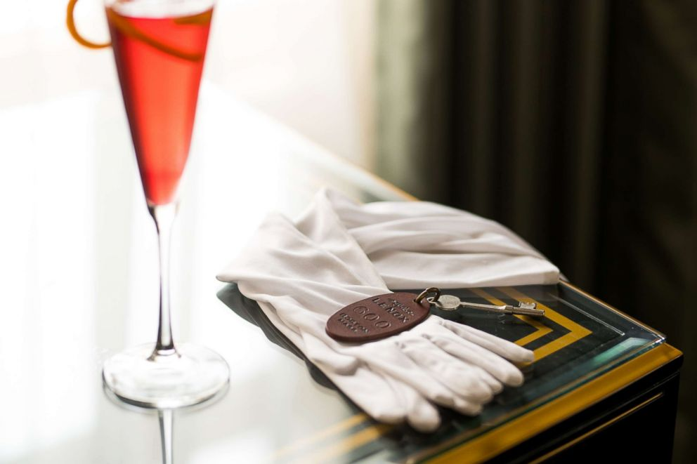The original room key of the Judy Garland Suite is pictured with a celebratory cocktail.