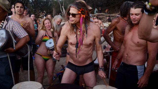 American Idol's Steven Tyler And Girlfriend Erin Brady On The Beach