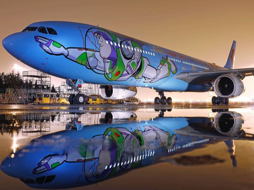 PHOTO: A Toy Story themed plane is taking off in China. The plane is a collaboration between Disney-Pixar and China Eastern Airlines. It has Buzz and Woody painted on the exterior and it has familiar movie characters in the interior.