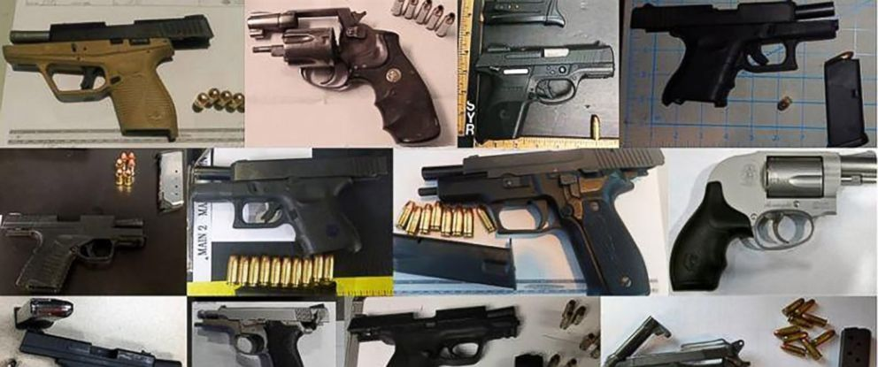 PHOTO: The TSA released this set of images in December 2017 with a statement that 73 firearms had been discovered in carry-on bags around the nation between Dec. 18 and Dec. 24.