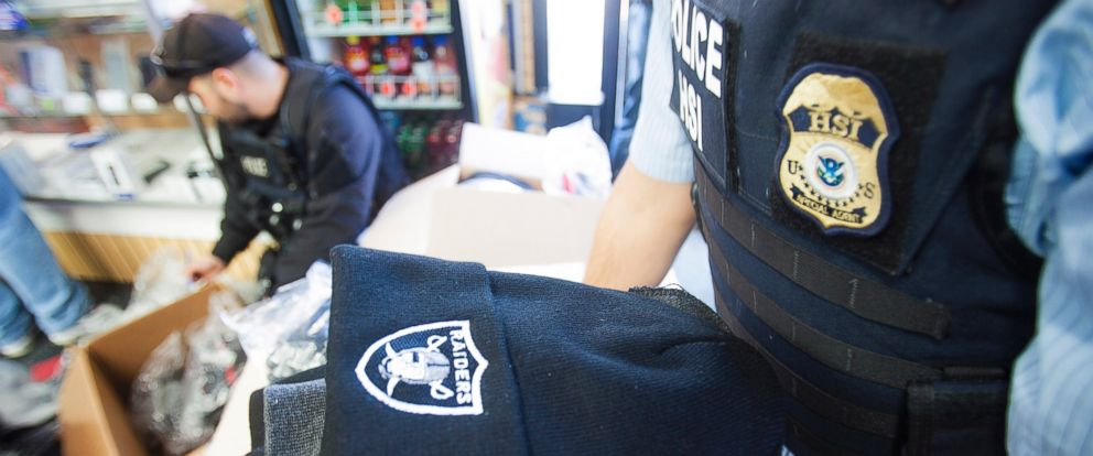 """PHOTO: U.S. Customs and Border Protection seized more than 443,249 sports-related items worth an estimated $39 million as a part of its """"Operation Team Player,"""" a coordinated effort between the IPR Center and professional sports teams."""