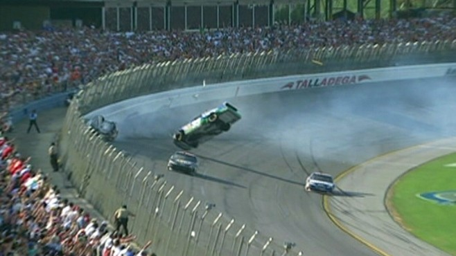 VIDEO: NASCAR fans were injured by flying debris in Talladega; the driver was unhurt.