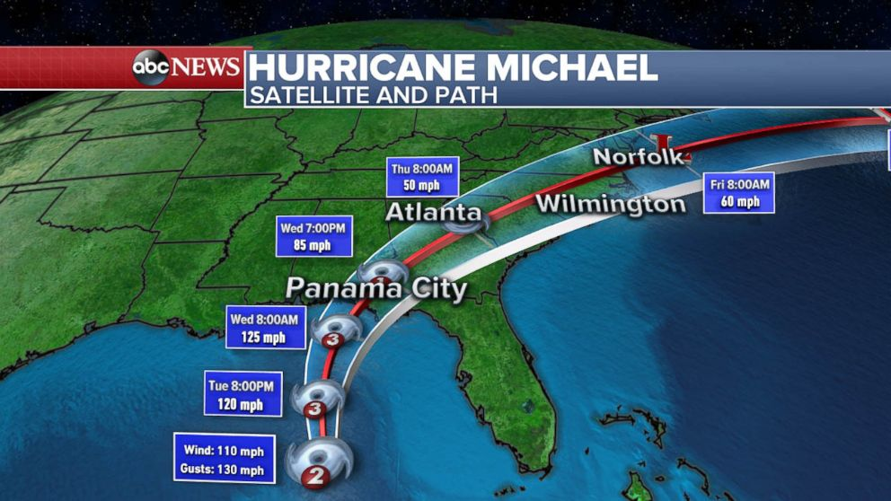 PHOTO: The expected path for Hurricane Michael as of Oct. 9, 2018.
