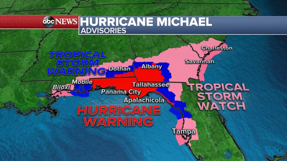 PHOTO: The advisories for Hurricane Michael as of Oct. 9, 2018.