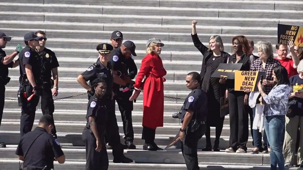 Jane Fonda arrested in climate change strike outside Capitol
