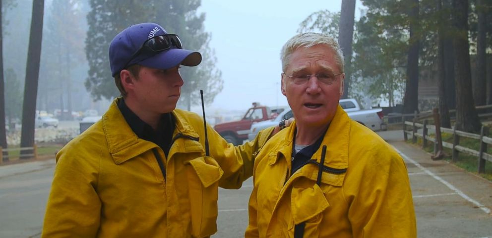 VIDEO: Pairs of fathers and sons are helping fight off the wildfires threating the Hume Lake Christian Camps in central California.
