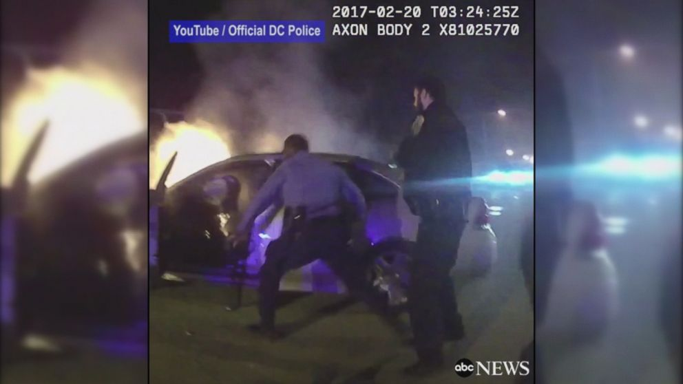 Police Rescue From Burning Car Abc World News Tonight