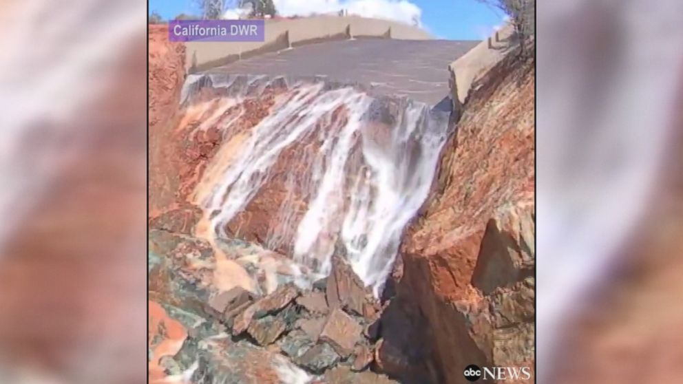Extensive damage to Oroville Dam after stopping water flow