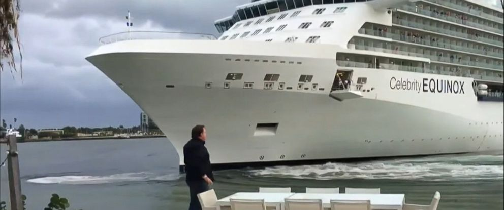 VIDEO: A 1,041-foot cruise liner edged dramatically close to a Florida mans property.