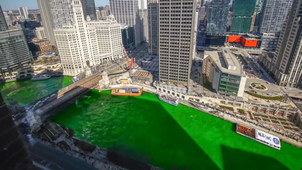 Timelapse video shows how Chicago River turns green for St  Patrick's Day