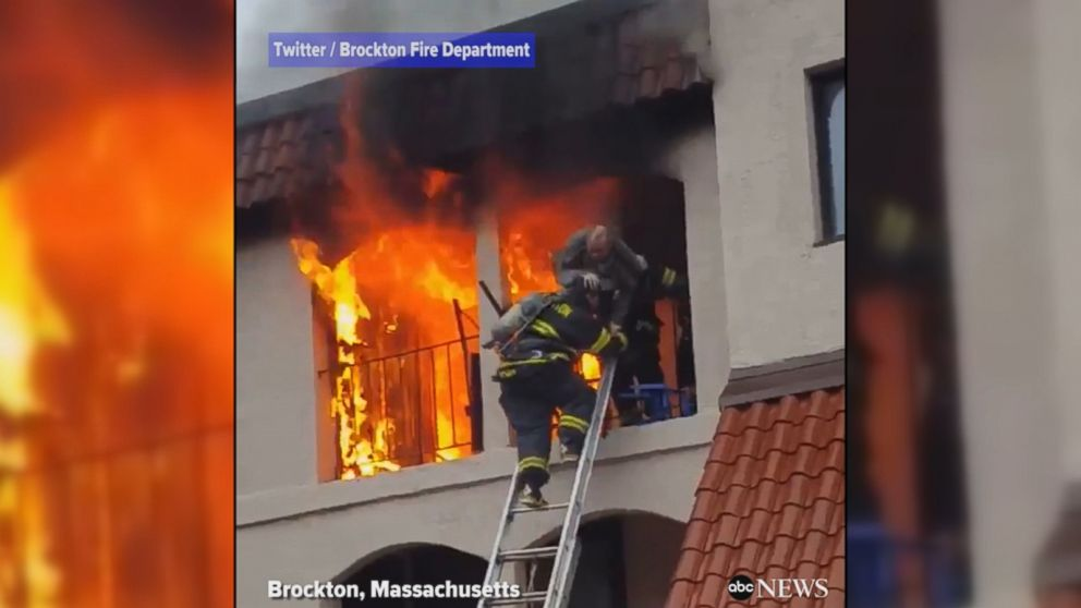 firefighters rescue man from burning apartment video abc