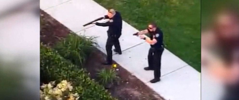 PHOTO: Video caught the moment police took down Peter Selis, the man accused of opening fire at a birthday pool party at a San Diego apartment complex, killing one and injuring seven, on April 30, 2017.