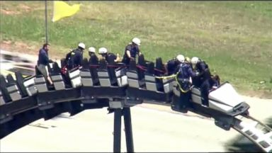 Parkgoers stranded on roller coaster after park suffers power outage Video Parkgoers stranded on roller coaster after park suffers power outage Video 170504 wabc roller caster stuck 16x9 384