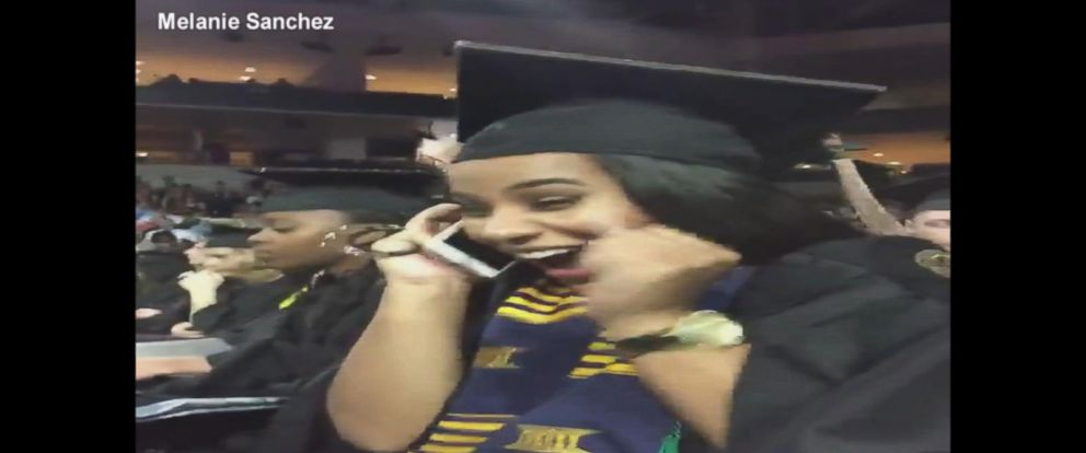VIDEO: College student celebrates when she gets job offer during graduation ceremony