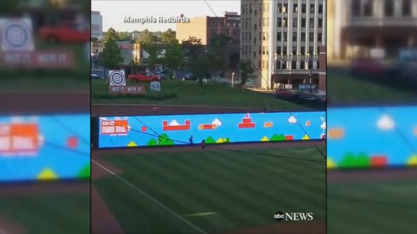 Baseball team creates real live 'Super Mario' game