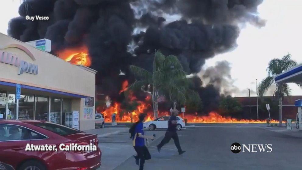 Overturned tanker causes massive fire in Calif