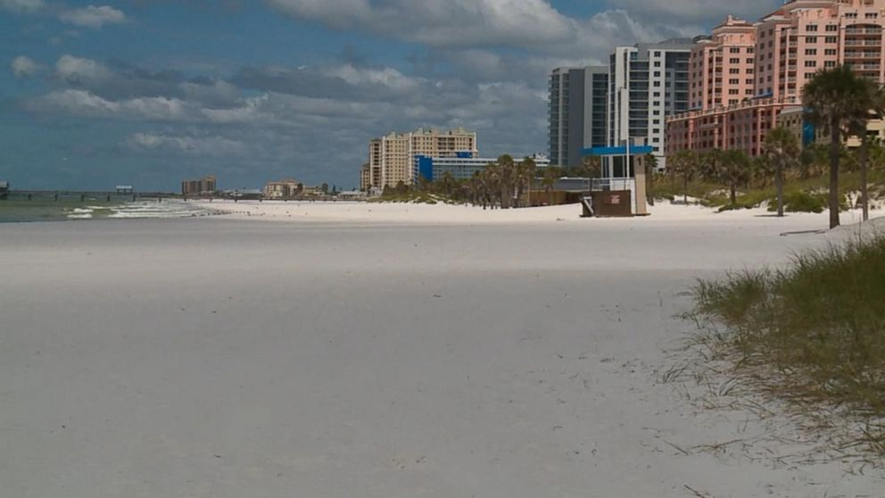 Popular tourist area in Clearwater Beach, Florida, is nearly empty
