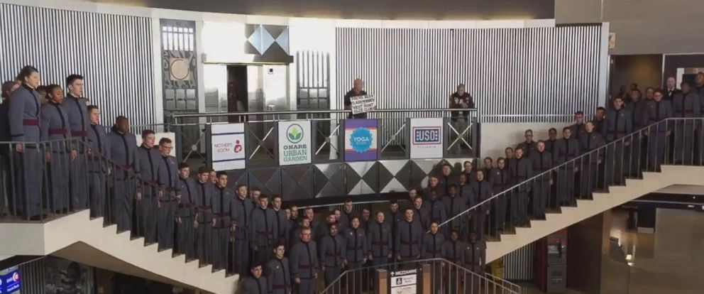 VIDEO: The USO of Illinois teamed up with the cadets for the performance inside one of the terminals at OHare International Airport.