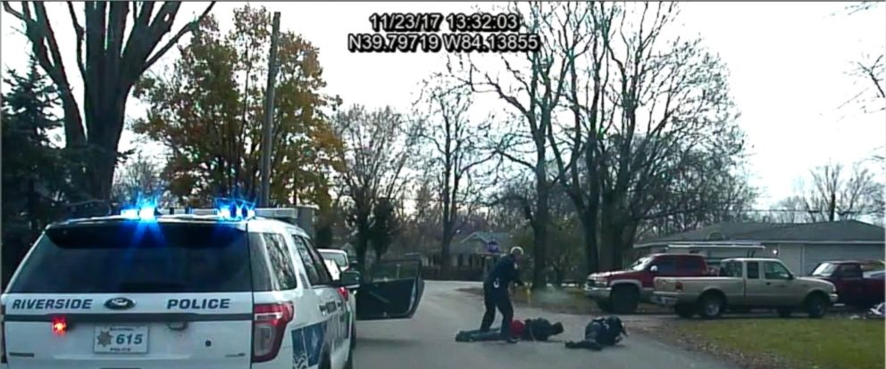 The incident occurred while the officers were responding to a domestic violence call on Thanksgiving Day.