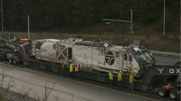 Over 270,000-pound Amtrak locomotive moved from crash site