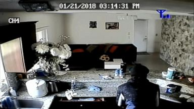 VIDEO: A Florida woman watched security-cam footage on her phone as her son hid from two alleged burglars.
