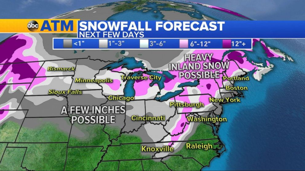 Snow Forecast Map Us Bitter cold, snow forecast for eastern US over next several days