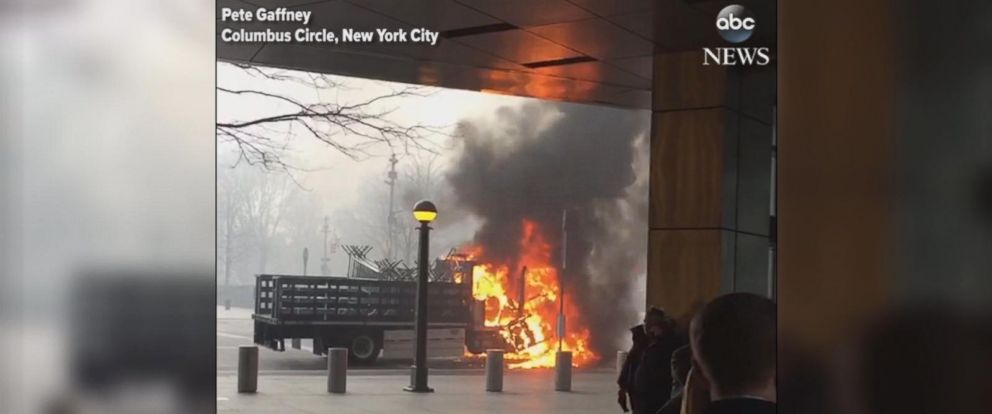 VIDEO: The NYPD caught fire about 9 a.m. in Columbus Circle, near the Trump International Hotel and Tower.