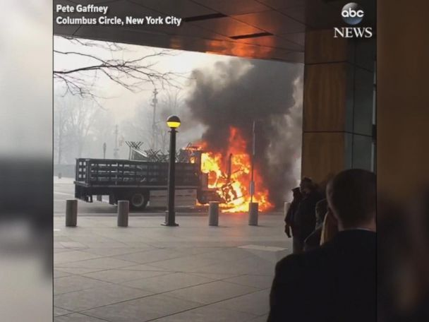 WATCH:  An NYPD truck burst into flames in the middle of Manhattan
