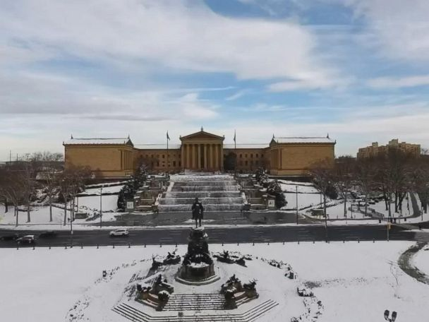 WATCH:  Drone captures snow-blanketed Philadelphia
