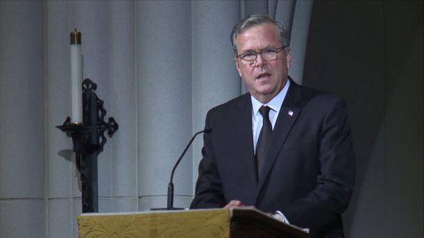 Jeb Bush delivers a eulogy at his mother Barbara Bush's funeral