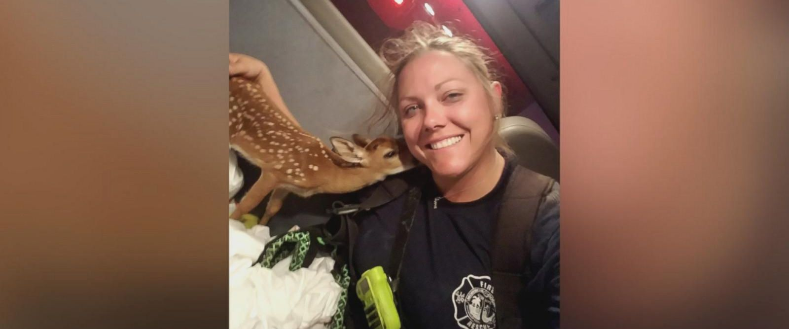Firefighter Jen Shockley Brack rescued a young spotted fawn while responding to a brush fire in the Florida Keys.