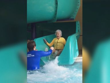 WATCH:  93-year-old woman faces her fear of water slides